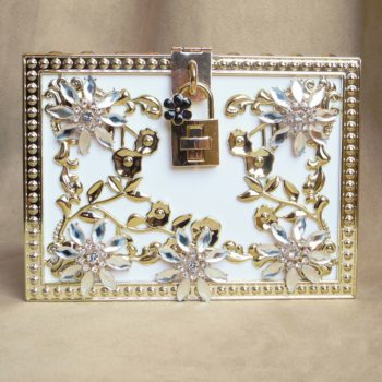 Embellished White Lock Clutch